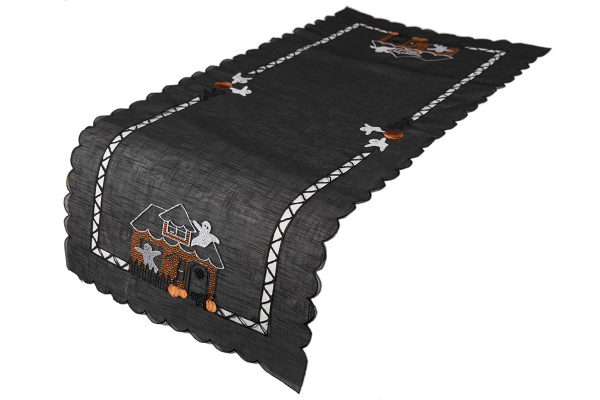 Xia Home Fashions Haunted House Embroidered Cutwork 16-Inch by 36-Inch Halloween Table Runner