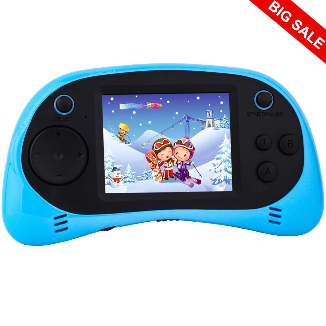 Kids Handheld Video Games Plug and Play TV Electronic Game Console Classic Arcade System Funny Gift for Children Adult Seniors Built in 260 Retro Games 2.5'' Display Rechargeable Battery (Blue)