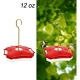 Maggift 12 oz Hanging Hummingbird Feeder with Four Feeding Ports