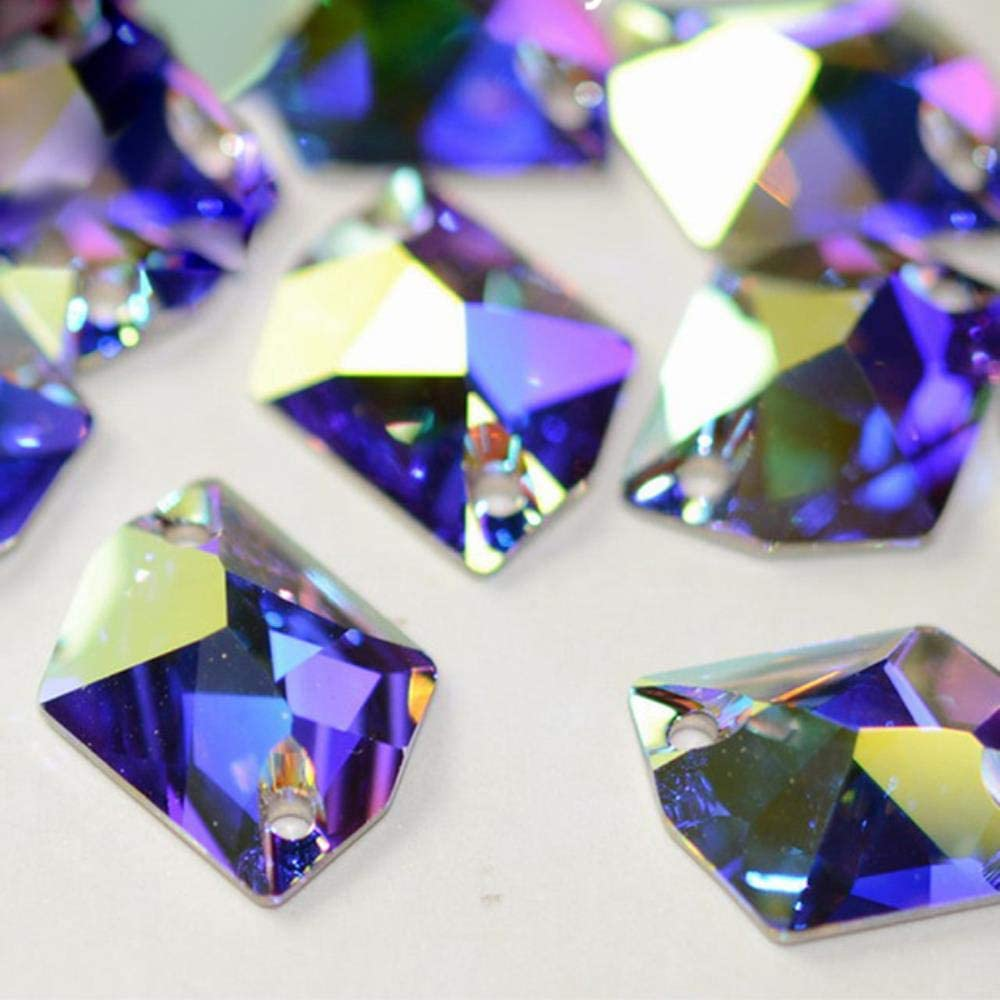 PENVEAT Elemento de Cristal de Cristal K9 AB Esmeralda Fucsia Coser en Diamantes de imitación Encanto Piedras para decoración de joyería de Prendas de Vestir, Cristal AB, 21x27mm 4 Piezas