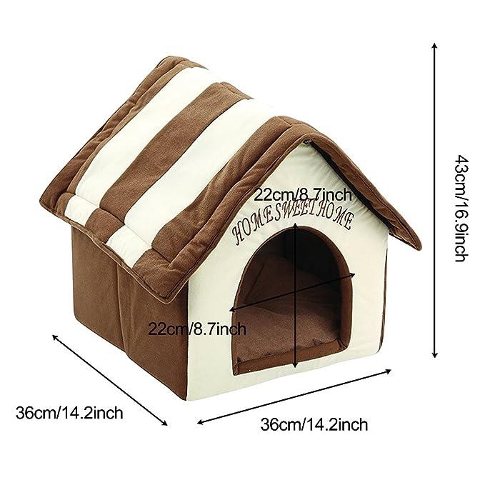 ZIME Pequeña casa de mascotas - Pequeña casa portátil y convertible para perros o gatos, casa para dormir / cama, nido suave para mascotas con tapete ...
