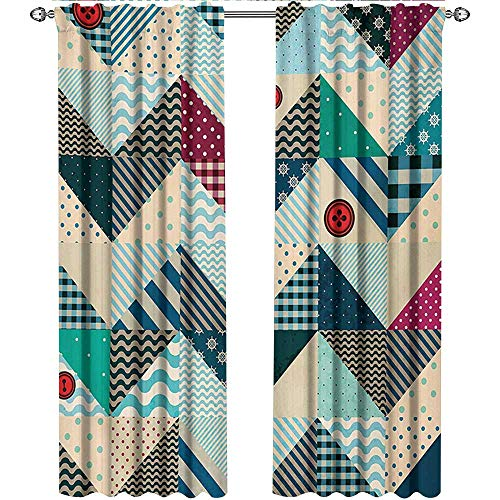 Pleated Button Valance - Chevron, Kitchen Curtains and Valances Set, Chevron Patchwork with Vintage Stylized Line and Retro Button Forms Kitsch Artsy, Curtains for Girls Bedroom, W72 x L96 Inch, Multicolor