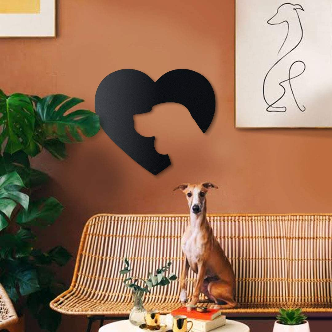 Hoagard Dog Love Metal Wall Art - Decoración geométrica para Pared - Corazón y Perro - para Salones y Habitaciones Infantiles - Metal - 50 x 44 cm
