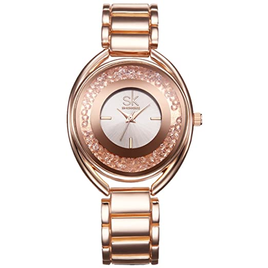 ffbfc78290cc shengke mujeres relojes elegante para vestido de correa de acero resistente  al agua reloj de pulsera reloj  Amazon.es  Relojes