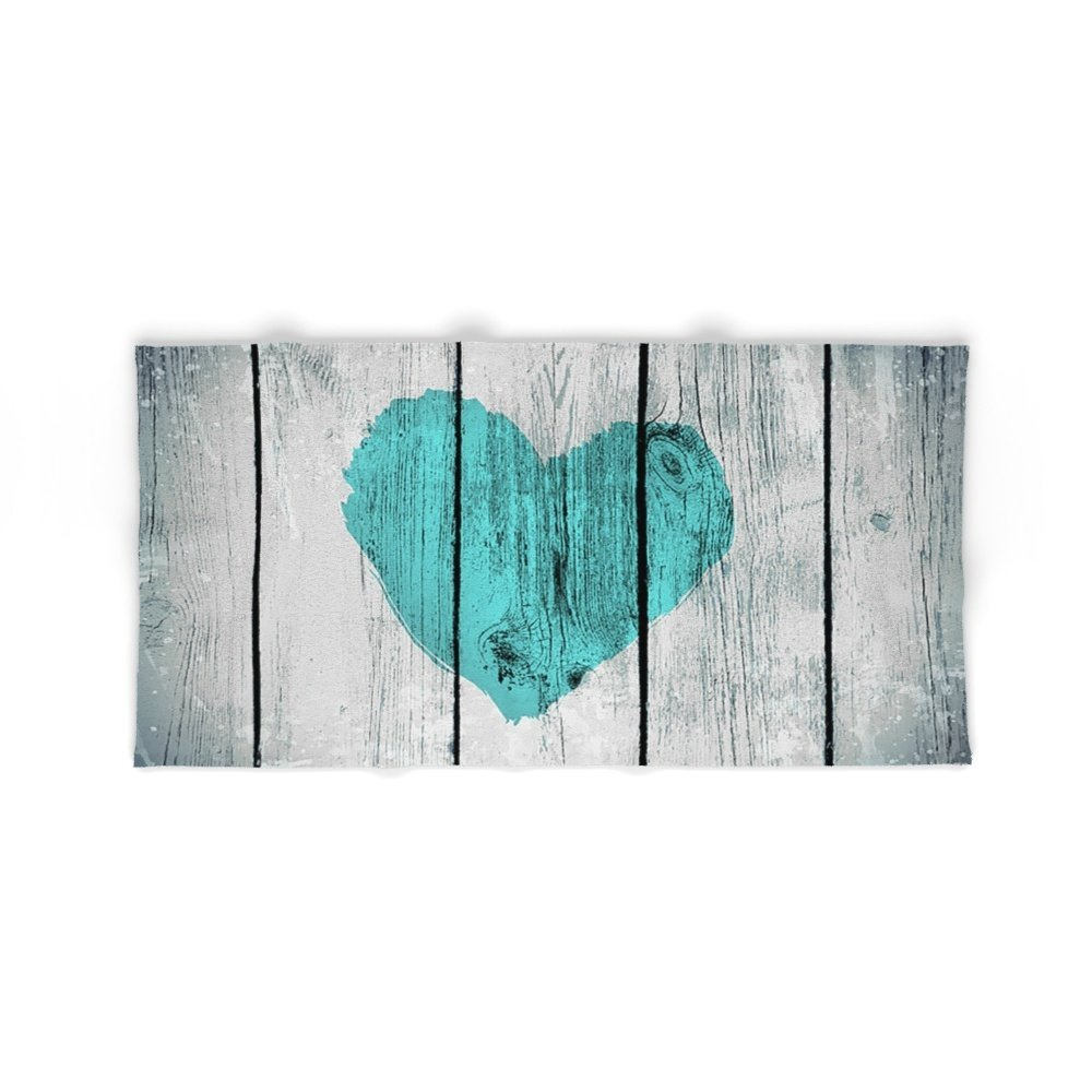 Society6 Teal Rustic Heart On Country Wood Bath Towel 64''x32''