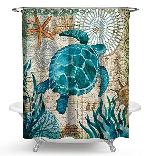 Imonet Sea Turtle Ocean Animal Landscape Shower Curtain for Bathing Room with Metal Grommets and Hooks, Water and Mildew Resistant, 72 x 72 by Imonet