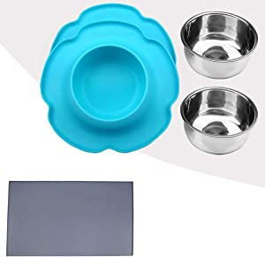 Vivaglory Pet Feeding Bowl and Bowl Set with Mat for Dogs