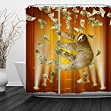 Qiyi Shower Curtain Waterproof/Repellent & Antibacterial,Rust Proof Grommets,Eco-Friendly,Machine Washable 72''W x 72''L-Sloth 1