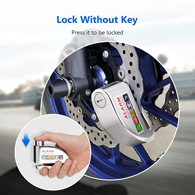 COOCHEER Alarm Disc Lock, Motorcycle Scooter Bike Security Anti-theft & Waterproof Brake Disc Alarm wheel Lock 6mm Super Class B Lock Cylinder 110db ...