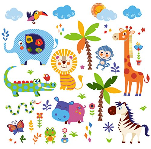 Crazy Jungle Animals Baby/Nursery Wall Sticker Decals for Boys and Girls (Boy Nursery Wall Decals compare prices)
