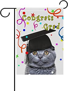 ALAZA Double Sided Lovely Cat Congrats Grad Celebration Graduation Polyester Garden Flag Banner 12 x 18 Inch for Outdoor Home Garden Flower Pot Decor