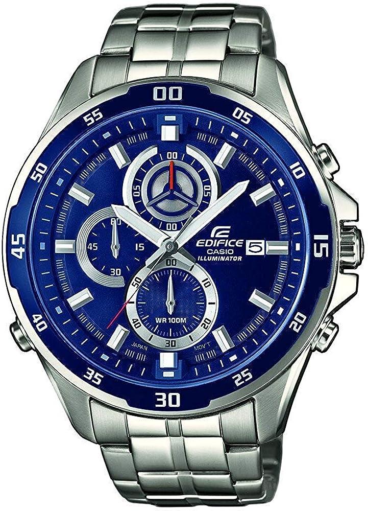 Casio EDIFICE Reloj en caja sólida, 10 BAR, Azul, para Hombre, con Correa de Acero inoxidable, EFR-547D-2AVUEF: Casio: Amazon.es: Relojes