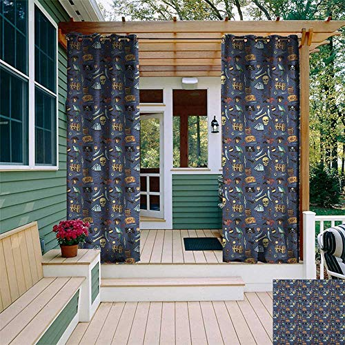 leinuoyi Pirates, Outdoor Curtain Extra Wide, Various Vintage Piratical Elements Mystery and Danger Theme with Skulls Weapons, for Patio Waterproof W120 x L96 Inch Multicolor