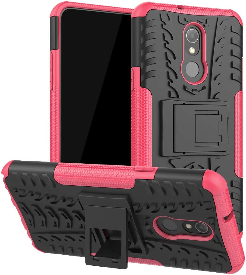 LG Stylo 5 Case, Ankoe Heavy Duty Hybrid Dual Layer Rugged Rubber Hybrid Hard/Soft Impact Armor Defender Shockproof Protective Case with Kickstand for LG Stylo 5 (Pink)