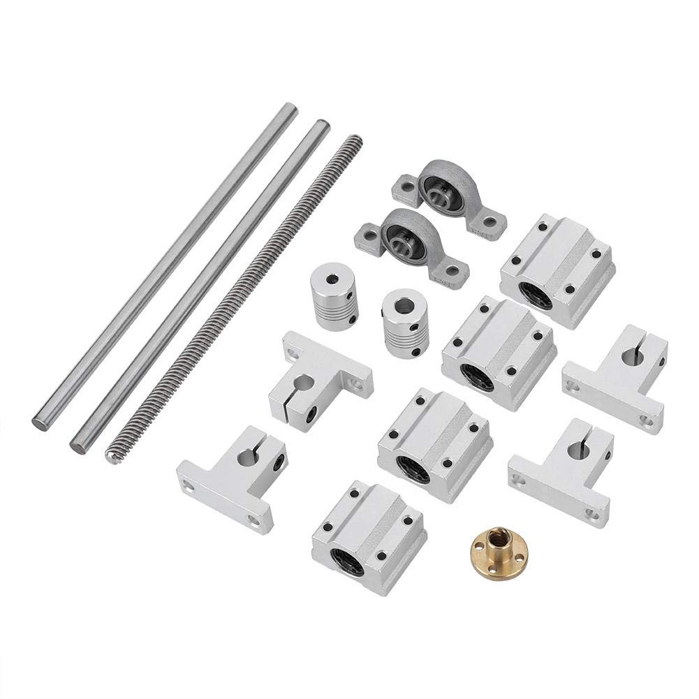 T8 Lead Screw Kit Set with Shaft Coupling 200mm Horizontal Optical Axis & 8mm Lead Screw Dual Rail Shaft Support Pillow Block Bearings Industrial Combination 3D Printer Parts and Accessories