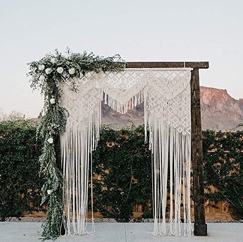 "Knitt World Macrame Wall Decor Hanging - Bohemian Home Geometric Art Decor - Macrame Curtain-Macrame Wedding Backdrop for Christmas & Holiday Decorations W 75"" x L 85"" Inch (1)"