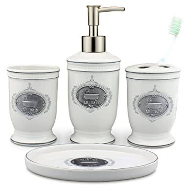 seafulee Vintage Ceramic Bathroom Accessory Set, 4 Pieces Bath Ensemble, Bathroom Accessories Set Collection with Soap Dispenser Pump,Toothbrush Holder, Tumbler, Soap Dish