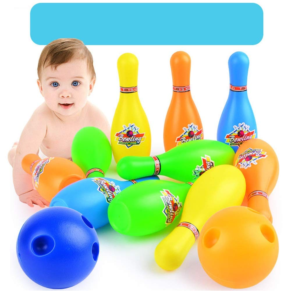 Bowling Pins Ball Toys Small Plastics Bowling Set Fun Indoor Game with 10 Mini Pins and 2 Balls Toy Great Gift for Baby Kids Toddlers Boys Girls Children Adults Bowling Toy