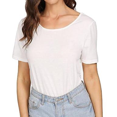 Angelof T-Shirt Dos Nu Femme Blanc Top Dentelle Transparent Ado Fille  Blouse Hippie Chemisier 07532fad3593