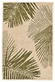 "AREA RUGS – ""KEY LARGO"" PALM FRONDS RUG – GREEN – 23″ x 35″- INDOOR OUTDOOR RUG For Sale"