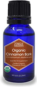 Zongle USDA Certified Organic Cinnamon Bark Essential Oil, Safe to Ingest, Cinnamomum Zeylanicum, 15 ML
