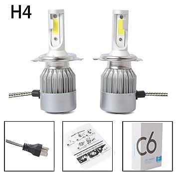 TOOGOO Nuevo 2pzs C6 LED Kit de faros de coche COB H4 36W 7600LM bombillas de luz blanca: Amazon.es: Coche y moto