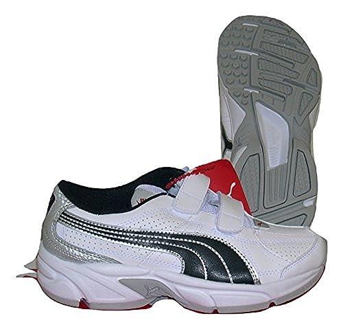 Puma Zapatillas de Running de Material Sintético Para Niño White/Black/Silver/Red, Color, Talla 33: Amazon.es: Zapatos y complementos
