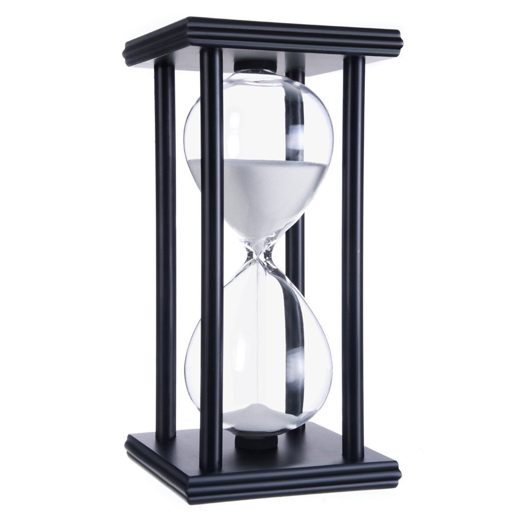 Graces Dawn 60 Minutes Hourglass, Wood Sand Timer (White Sand,Black Frame,60min)