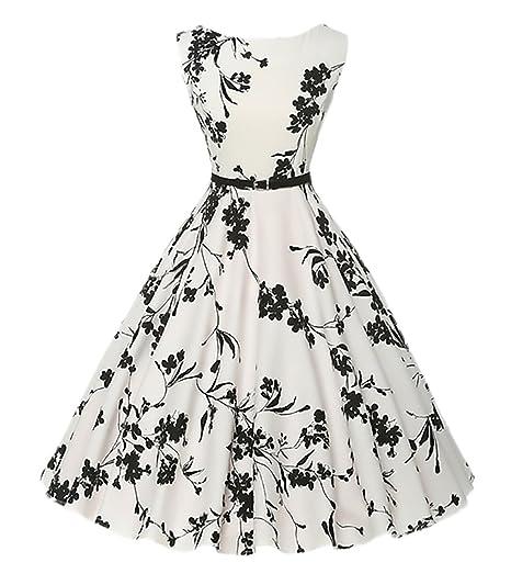 Vestidos De Fiesta Para Bodas Mujer Verano Elegantes Vestido Años 50 Vintage Rockabilly 1950s Swing Cóctel Plisado Sin Mangas Cuello Redondo Impresión ...