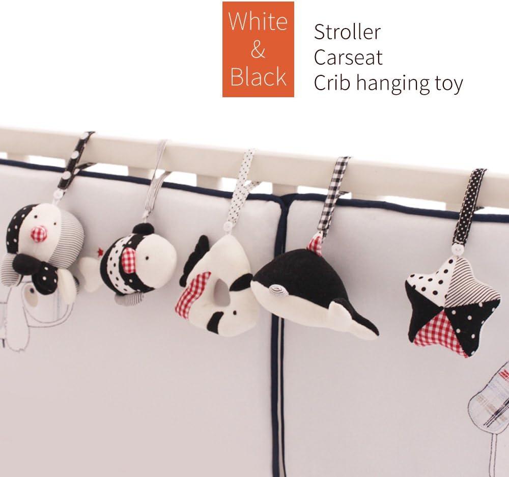 color blanco y negro 5 piezas dise/ño de animales marinos Juguete para cochecito o cuna de beb/é SHILOH