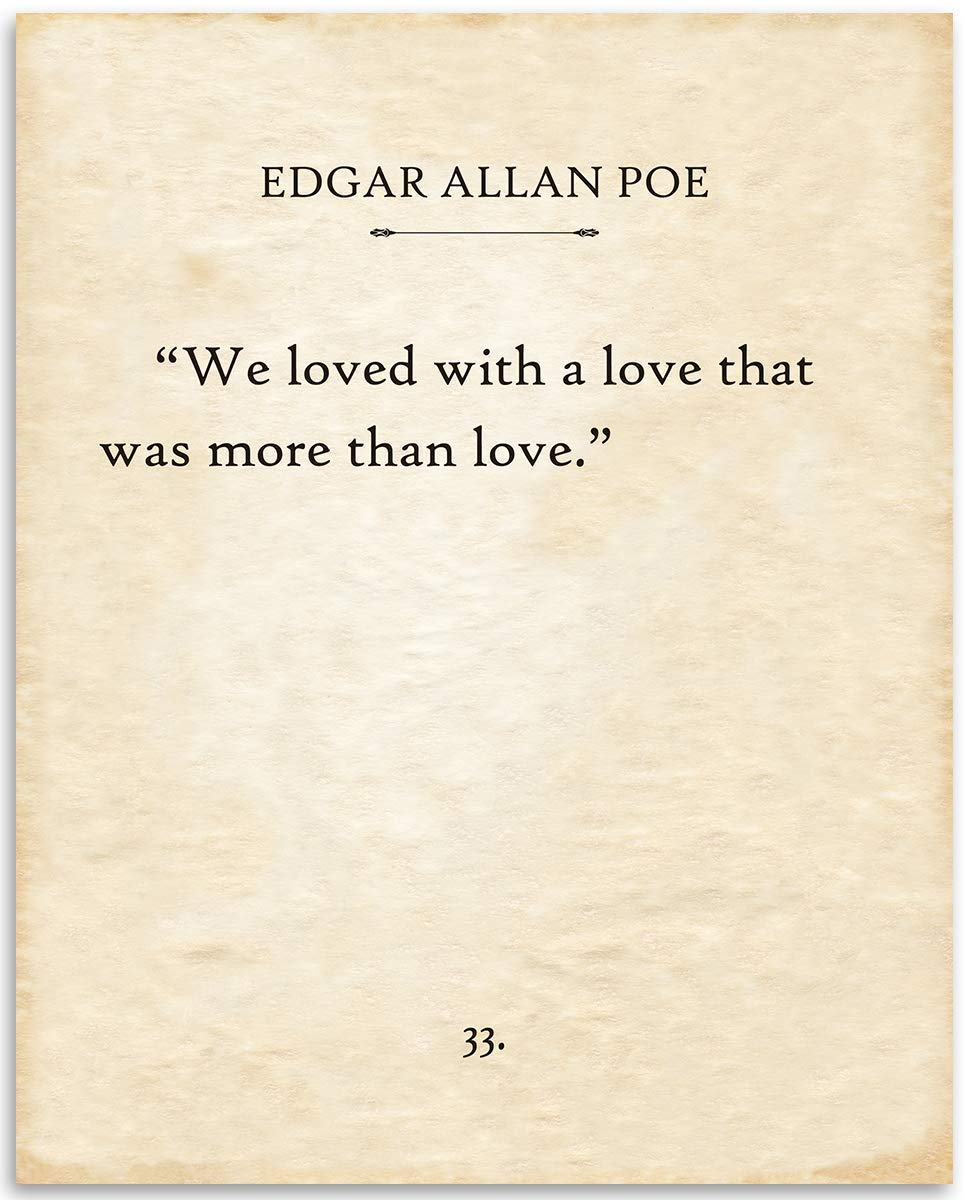 Edgar Allan Poe - We Loved With A Love - 11x14 Unframed Typography Book Page Print - Great Gift for Romantic Poetry and Annabel Lee Fans Under $15
