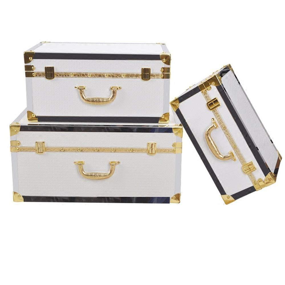 WanuigH Vintage Koffer Set 3 Piraten-Schatz-Kasten-Aufbewahrungsbehälter - Durable Holz und Leder BAU Handmade Vintage Design Aufbewahrungskiste (Farbe : Weiß, Größe : Large+Middle+small)