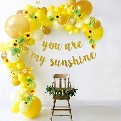 MALLMALL6 6Pcs Sunflower Honeycomb Centerpieces Cute Face Party Table Topper Warm Yellow Bright You are My Sunshine Sun Flower Theme Baby Shower Decorations Birthday Bridal Shower Wedding Supplies