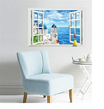 sucis 3d window aegean sea dream blue castle scenery unique removable wall art sticker decal home - Blue Castle Decor