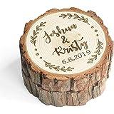 LOVEhandmade Custom Wood Wedding Ring Box Wedding Ring Bearer Personalized Rustic Wedding Ring Box Engraved Ring Holder…