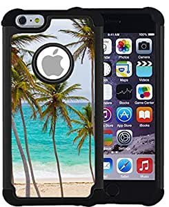CorpCase iPhone 6 Plus Case / iPhone 6 Plus 5.5 Inch Case - Tropical palm tree on beach / Hybrid Unique Case With Great Protection