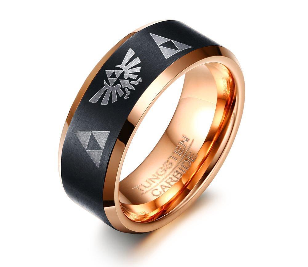 Tungsten Carbide Two-tone Black Rose Gold Matte Bevel Edge Legend of Zelda Triforce Ring for Men Boy,size 12