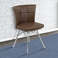 Armen Living LCSPSIVCBS Spago Dining Chair Set of 2 in Vintage Coffee Faux Leather and Brushed Stainless Steel Finish