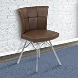 Armen Living LCSPSIVCBS Spago Dining Chair Set of 2 in Vintage Coffee Faux Leather and Brushed Stainless Steel Finish Review