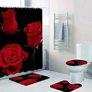 Forart Valentine's Shower Curtain Set Rose Romantic Flowers and Wine for Lover Red Floral Blooming Waterproof Bathroom Home Decor Set with Hooks