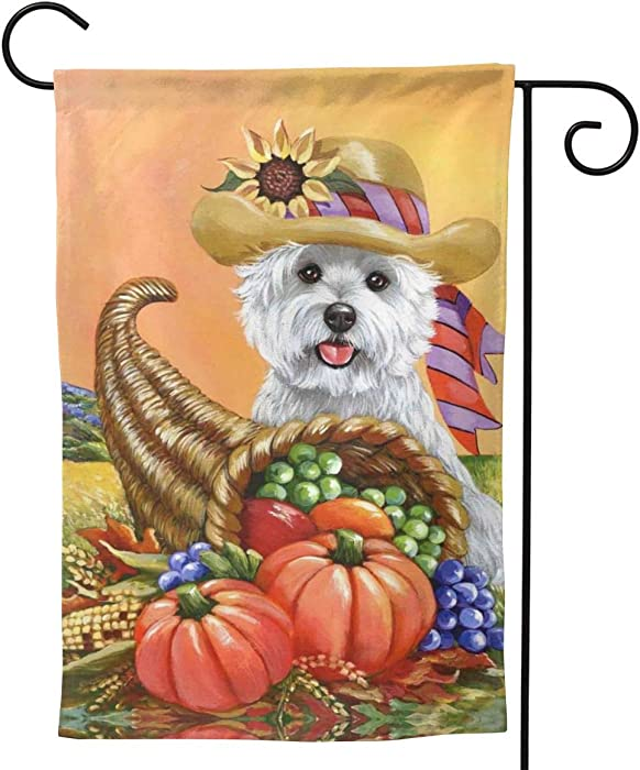 MINIOZE Thanksgiving Pumpkin Westie Dog Xute Cornucopia Fall Big Large Jumbo Party Themed Flag Welcome Outdoor Outside Decorations Ornament Picks Garden Yard Decor Double Sided 12.5X 18 Flag