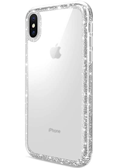 the best attitude 319d4 fac84 DAUPIN Compatible for iPhone Xs iPhone X Case Protective Defender Thin Slim  Cases Clear Bling Glitter Shockproof Cover for Women Girls for iPhone Xs ...