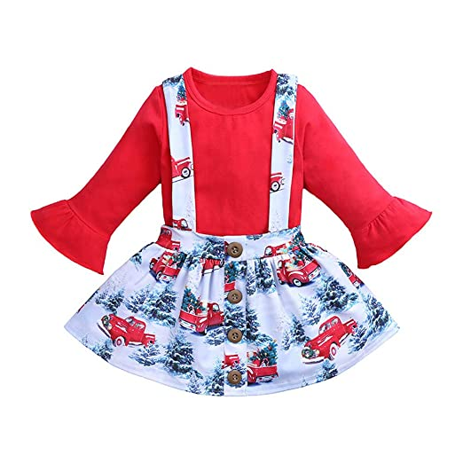 theshy toddler kids baby girl christmas t shirt tops floral skirt princess outfits set
