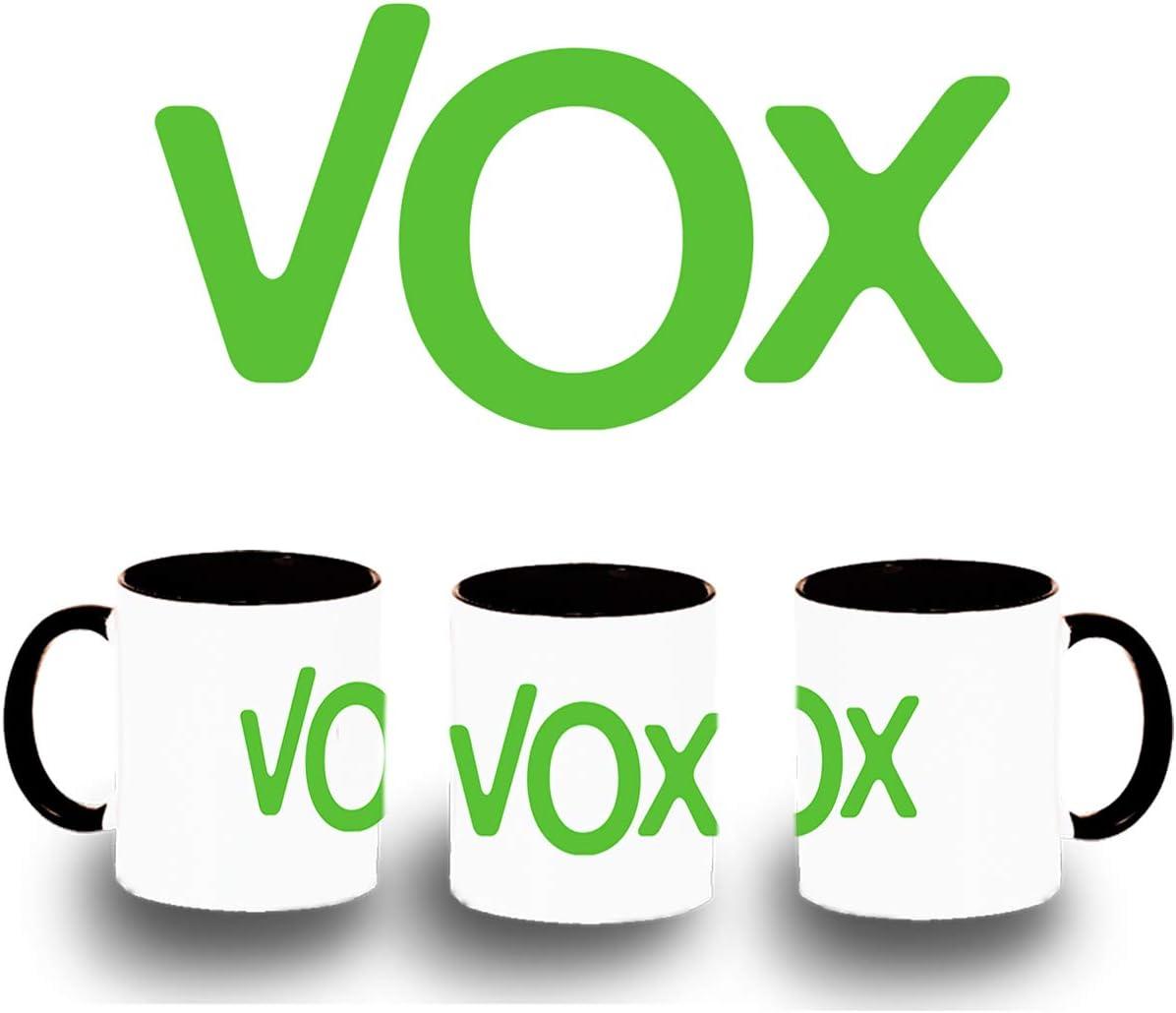 MERCHANDMANIA Taza Negra Logo Partido VOX Color mug: Amazon.es ...