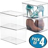 mDesign organizador de zapatos - Organizador plastico para calzado, apilable con tapa en color transparente - Set de 4 cajas