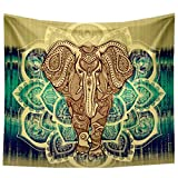 YAMUDA Elephant Tapestry, Square Wall Hanging Decor Indian Home Hippie Bohemian Tapestry - 57x57 inches