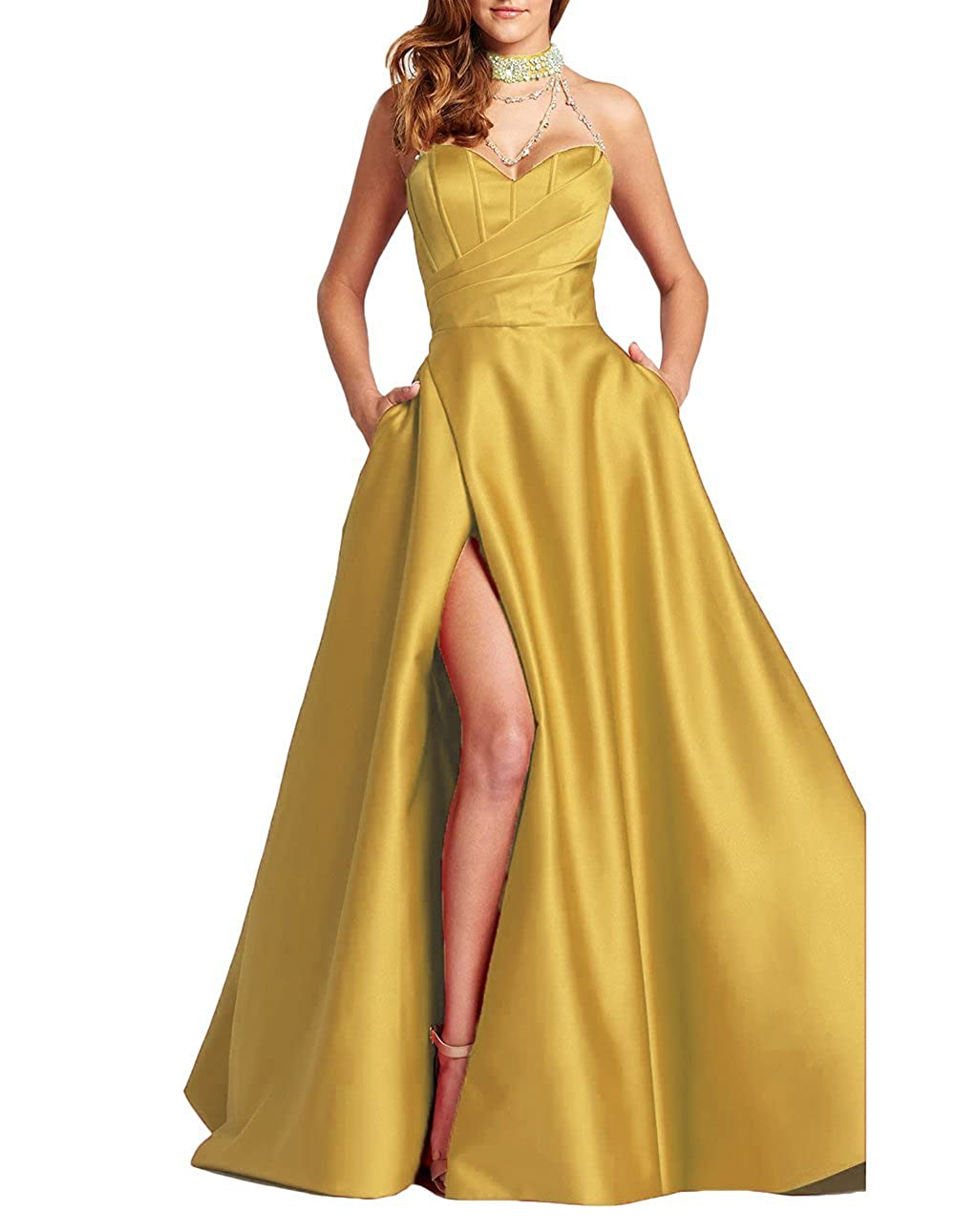 Agold alilith.Z Sexy Sweetheart Side Slit Beaded Prom Dresses Long Formal Evening Dresses Party Gowns for Women with Pockets