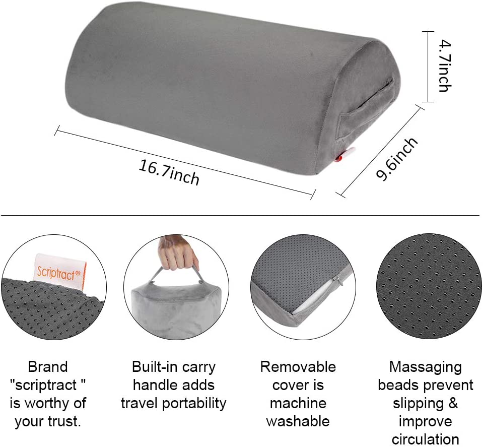 Black Mesh Home Airplane,Travel Gwolken Mesh Foot Rest for Under Desk with Non-Slip Surface High Rebound Foam Half-Cylinder Footrest Cushion Footstool Great for Office