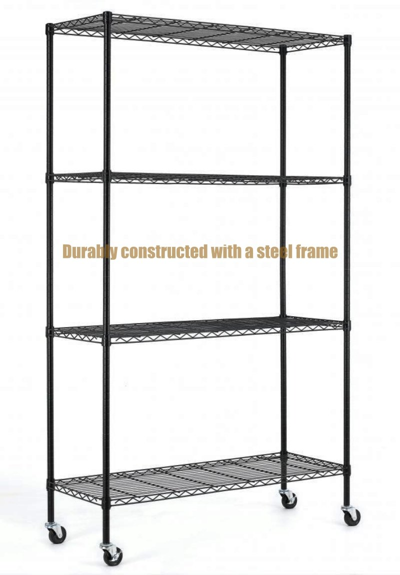 Durable Constructed 6-Tier Steel Shelving Storage Organizer Adjustable With Castor Wheels - Black Finish #1167