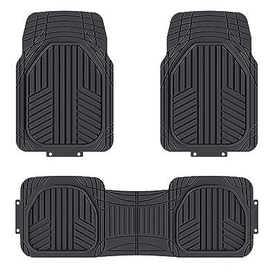 Basics 3-Piece All-Season Odorless Heavy Duty Rubber Floor Mat for Cars, SUVs and Trucks, Black: Automotive